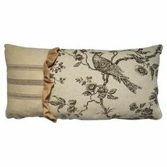 "Pairing a toile motif with brown striping and a burlap ruffle, this inviting pillow brings chic country style to your sofa or settee.  Product: PillowConstruction Material: Cotton, burlap and linenColor: BrownFeatures: Insert includedDimensions: 10"" x 20"""