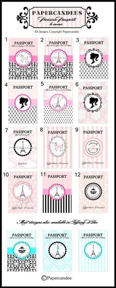 THE ORIGINAL Paris Passport Invitations - Paris Invitation Set of 12 - Assembled by PAPERCANDEE. $39.00, via Etsy.
