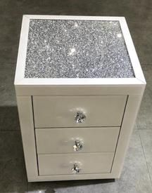 White Mirror Crush 3 Drawer Mirrored Bedside Table White Bedside