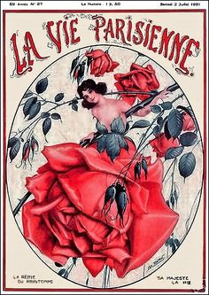La Vie Parisienne Woman w Giant Rose Petal Dress July 2, 1921 Leo Fontan