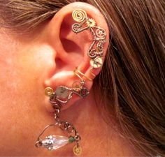 "Non Pierced ""Time Traveler"" Steampunk Wire Wrap Ear Cuff"