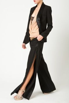 I NEED this suit NOW!    The Tuxedo Pant is designed to go hand in hand with the Drape Front Jacket. Elegant and Classic.