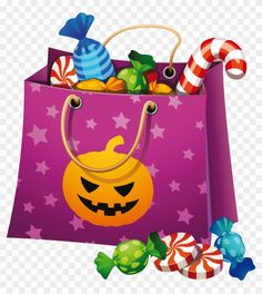 Halloween bag full of candy Card - Best Halloween Candy, Dulces Halloween, Office Halloween Costumes, Bonbon Halloween, Halloween Bags, Halloween Home Decor, Halloween House, Halloween Pumpkins, Happy Halloween