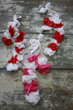 tissue paper candy canes with ribbon