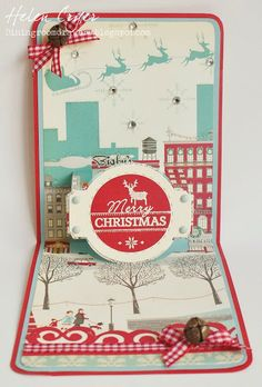 Helen Cryer using the Pop 'n Cuts A2 Base die plus the Circle Label Stitched Framelits and Banner/Border Thinlints - The Dining Room Drawers: October Afternoon Christmas Pop 'n Cuts Card