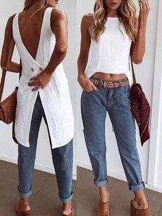 Irregular Button Back Dip Hem Tank Top - Herren- und Damenmode - Kleidung Look Fashion, Diy Fashion, Teen Fashion, Ideias Fashion, Fashion Outfits, Womens Fashion, Fashion Trends, Fashion Ideas, Fashion Spring