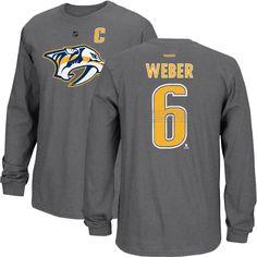 02beecb64 Nashville Predators Shea Webber Replica Long Sleeve T-shirt (Graphite) Predators  Hockey