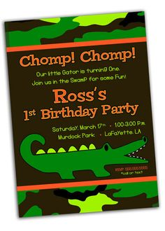 Alligator Crocodile Camo Swamp Birthday Party Invitation  by khudd, $10.00