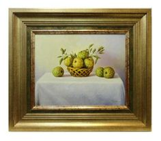 Arkángel : Custard apple still life. Medium: Oil on wood Measurements (cm): 89x77 Canvas measurements (cm): 60x48 Interior frame: Yes. Hyper-realist painting with details which do not go unnoticed, of majestic colours of our artists varied artistic palette. Perfectly framed, a work with an unbeatable quality-price ratio.  $819.18