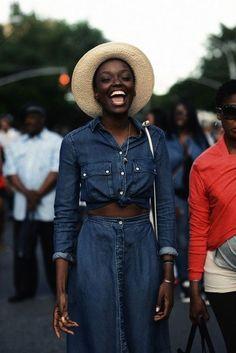 straw hat, tied chambray denim shirt & denim skirt #style #fashion #summer #streetstyle