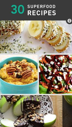 Healthy options for breakfast, lunch, dinner, snacks, and dessert.