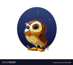 Digital vector funny comic cartoon owl bird with big eyes in the night sitting on a tree, hand drawn illustration, abstract realistic flat style. Download a Free Preview or High Quality Adobe Illustrator Ai, EPS, PDF and High Resolution JPEG versions. ID #15733338.