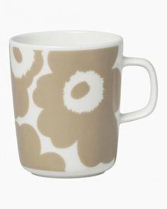 Oiva/Unikko -muki 2,5dl Marimekko, Nordic Interior Design, Poppy Pattern, Stoneware Mugs, White Beige, Mugs Set, Accessories Shop, Decoration, Signs