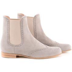 Unützer Beige Camoscio Chelsea Boots found on Polyvore