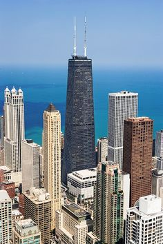 The John Hancock Center, a antenna m. tip)tall office and condo building in Chicago. I was going to build it in minecraft but I found it too hard to measure so I sold out with a Freedom Tower replica. Chicago Usa, Chicago Travel, Chicago City, Chicago Skyline, Chicago Illinois, Chicago Location, Chicago Buildings, Future Buildings, San Diego