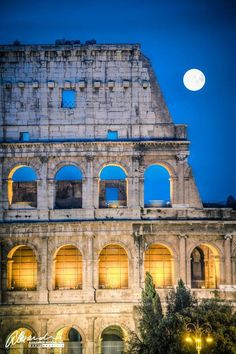 Full moom over Rome Italy