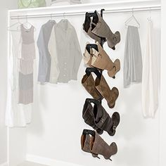 Boot Butler Boot Storage Rack As Seen On Rachael Ray – Clean Up Your Closet Floor with Hanging Boot Storage – Easy to Assemble & Built to Last – Hanger Organizer & Shaper/Tree Boot Organization, Home Office Organization, Organizing Ideas, Hanging Shoe Organizer, Hanging Closet, Boot Storage, Closet Storage, Closet Rod, Shoe Closet