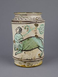 Pharmacy jar  Toscana (Tuscany), southern, 14th century (1301 - 1400)  18.5cm (height)  tin-glazed earthenware (maiolica) Ceramic Painting, Ceramic Art, Ceramic Pottery, Pottery Art, Medieval Furniture, Painted Jars, Hand Painted, Art Nouveau, Italian Pottery