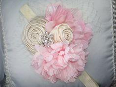 Rosa bebé diademas de flores, diademas de flores, diadema de flores de color rosa y crema, Foto Prop, bodas, ocasión especial,