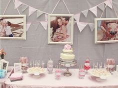 Photo Decorations for baby shower. I def want to hang my maternity photos like this at the shower! Thinking this could turn into a photography theme.