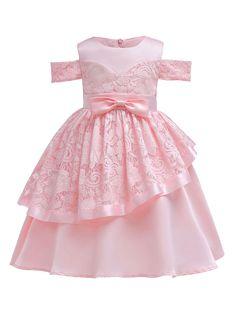Soft Pink Flower Girl Dresses Lace Bow Sash Cold Shoulder A Line Knee Length Kids Formal Party Dress