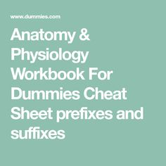Anatomy & Physiology Workbook For Dummies Cheat Sheet prefixes and suffixes