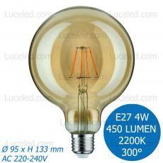 FSL® LAMPADINA LED GLOBO FILAMENTO AMBRATA E27 DA 4W G95 FASCIO 300° 450 LUMEN