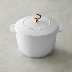 Staub Petite French Oven, White with Copper Knob #williamssonoma