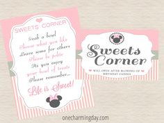 Free Minnie Mouse Party Printables - One Charming Day Theme Mickey, Minnie Mouse Theme, Mickey Mouse Birthday, Minnie Mouse Template, Free Printable Business Cards, 2nd Birthday Parties, Birthday Ideas, After Life, Childrens Party