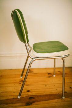 SET OF 6 Atomic 60u0027S Retro Vintage Kitchen Chairs Green AND Cream Pattern Vinyl in Melbourne & 77 best