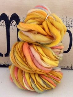 Hand dyed and Spun Thick and Thin Yarn  wool by fuzzyfibers1960, $23.00