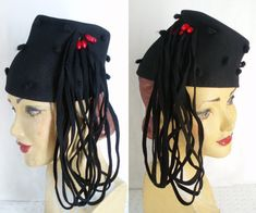 New York Creations Tilt Hat 1940's Black Felt Beaded Long Loops . WW2 Fashion . Lindy Hop .