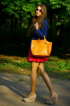 color block with nude wedges <3
