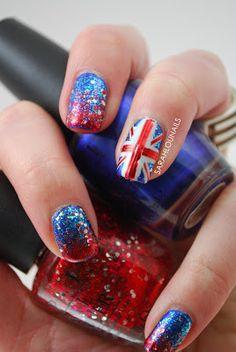 Union Jack nail art; #nailart; blue, red, silver, glitter nails