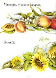 Risco, flores e fruto, artesanato, pintura em tecido, modelo