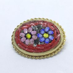 Vintage FLOWER BROOCH PIN Oval MICRO-MOSAIC Glass Tile Gold Tone Jewelry SALE $2.50 sale! #ebay #bringbackthebrooch