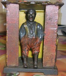 Antique Cast Iron Machanical Cabin Bank Ethnic 1885   Find more memorabilia at  Conway's Vintage Treasures #conwaysvintagetreasures #cvtreasures