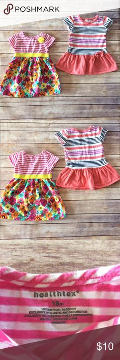 Healthtex Bundle Of 2 Dresses Two short sleeved striped play dresses, perfect for spring/summer! VGUC for mild general wear, no stains or holes. 11812 Healthtex Dresses