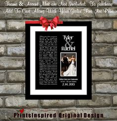 Custom Anniversary Gift Song Lyric Print: ANY Personalized Wedding Song Lyrics Vows and Photo Unique Wedding Anniversary Gift For Men Wife
