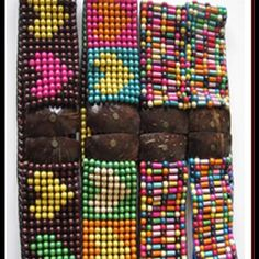Wooden-stretch belt Handmade with colorful wood pieces.  Multicolored and multiple designs. Accessories Belts
