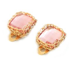 YooLa Rose Clip On Crystal Earrings Gold ($51) ❤ liked on Polyvore