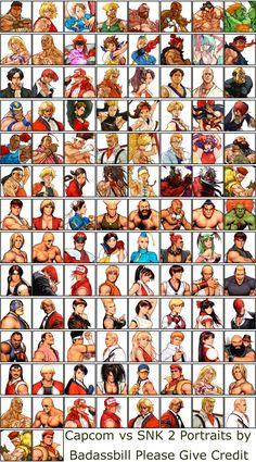 Capcom vs SNK 2 art for top characters by Capcom designer Kinu Nishimura and art for bottom characters by Capcom illustrator and conceptual artist Toshiaki Mori (Shinkiro)