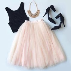 luxury-andfashion: tutu skirt / crop top / necklace / sandals