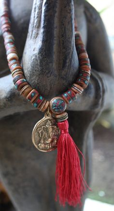 Tibetan Mala Yak Bone Prayer Beads Necklace with Turquoise, Red Coral and Metal Inlay with brass Ganesh pendant