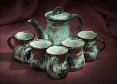 Handmade Ceramic Porcelain Tea Set Teapot and 5 Mugs by Boris Vitlin