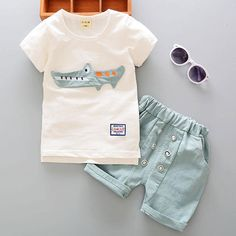 Cool Cartoon Cotton Summer Clothing Sets for Newborn Baby Boy Infant Fashion Outerwear Clothes Suit T-shirt+Pant Suit Bebes Boy Cloth - $23.46 - Buy it Now!
