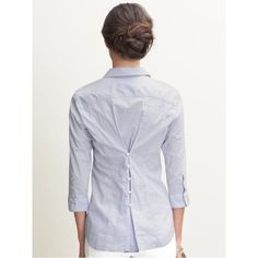 Mini check button-back shirt | Banana Republic found on Polyvore featuring polyvore, fashion, clothing and banana republic
