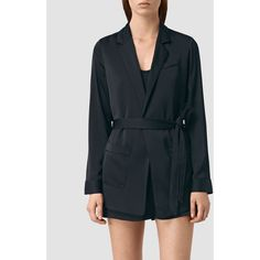AllSaints Voltere Tye Playsuit (450 BYR) ❤ liked on Polyvore featuring jumpsuits, rompers, ink blue, blue jackets, blue blazer jacket, blue blazers, allsaints and blazer jacket