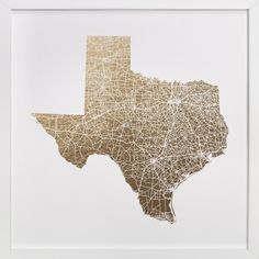 Texas Map Filled by GeekInk Design at minted.com - 11x11 with frame