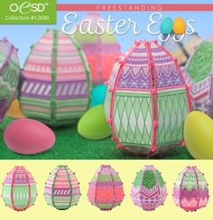 The ideal #Easter decoration... beautiful, intricate Freestanding Easter Eggs! Five unique designs in this new collection from #OESD. #fsl #embroidery
